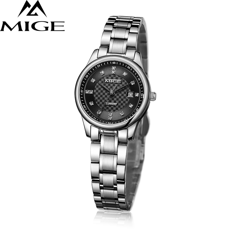 Mige 2017 Top Sale Brand Female Clock Black White Gold Steel Watchband Leisure Saphire Dial Waterproof Quartz Women Wristwatches