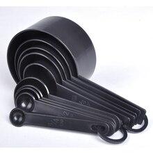 Cuillère à thé en plastique noir   Cuillère à thé en plastique, cuillères à mesurer, tasses ensemble de mesure, outils mixeur 10 pièces/ensemble