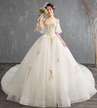 Luxe nouvelle arrivée bateau cou doré dentelle perles cathédrale Train robe De mariée pour robes De mariée mariage Bridals Vestido De Noiva