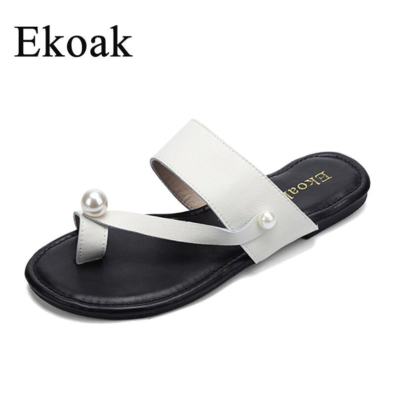 Ekoak Echtes Kuh Leder Perle Kleid Sommer Mode Frauen Sandalen Schuhe Frau Flip-Flops Damen Mädchen Strand Flache Sandalen