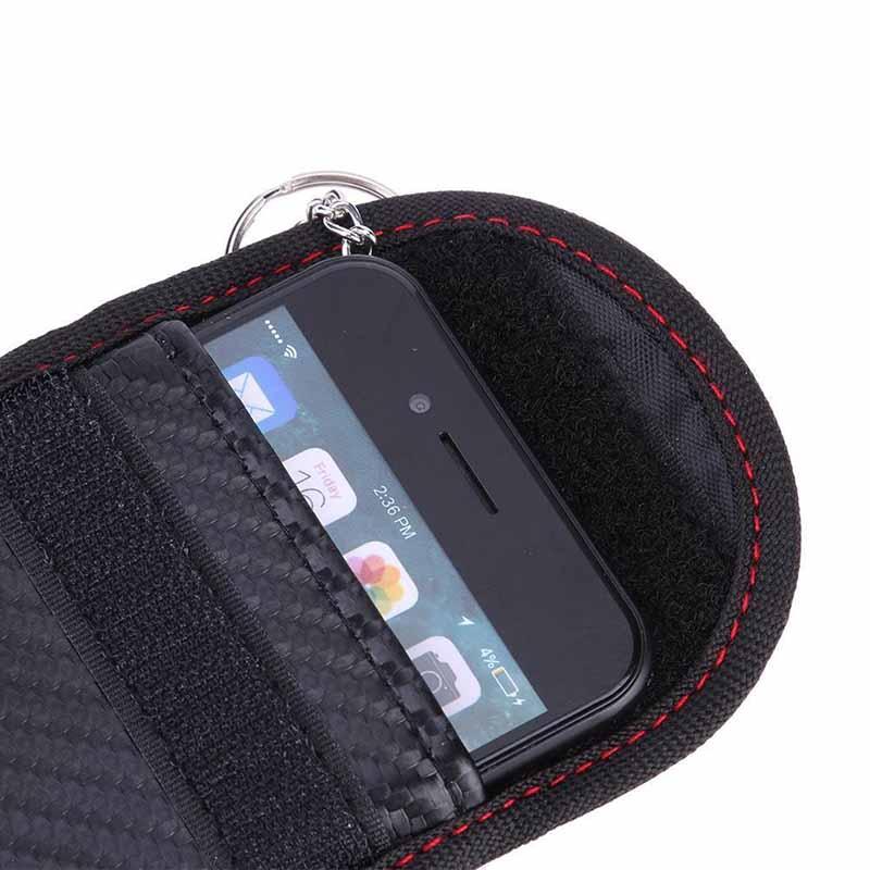 1x veículo preto fibra de carbono padrão remoto chave sinal bloqueador caso capa bolsa