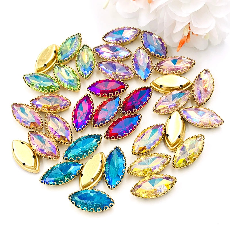 Recién llegado, 7X15mm, forma de hoja, diamantes de imitación, base dorada, garra de cristal, Diamante de ojo de caballo, accesorios de ropa Diy