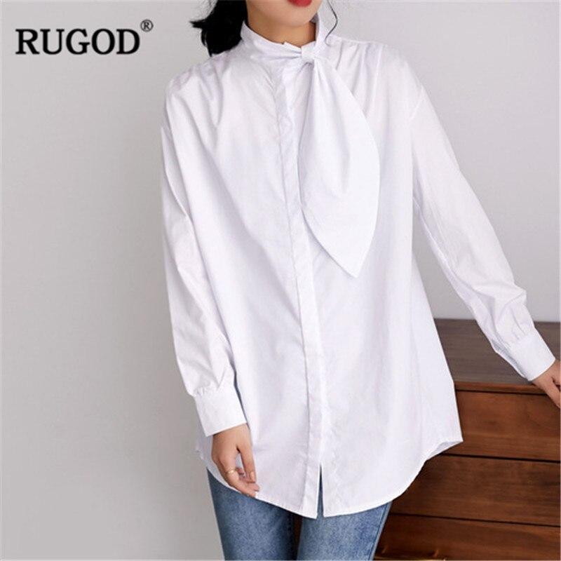 RUGOD elegante Oficina señora camisa moda lazo Collar manga larga blusa blanca 2019 mujeres Casual blusa larga Kimono tops