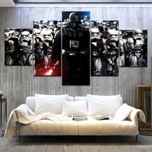 5 Panels Modular Star War Darth Vader Helmet Movie Poster Canvas Painting Wall Art Print Home Decor Picture Frame Artwork