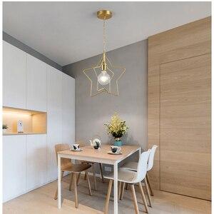 Nordic creative gold single head pendant light LED E27 personality pendant for living room bedroom children's room restaurant