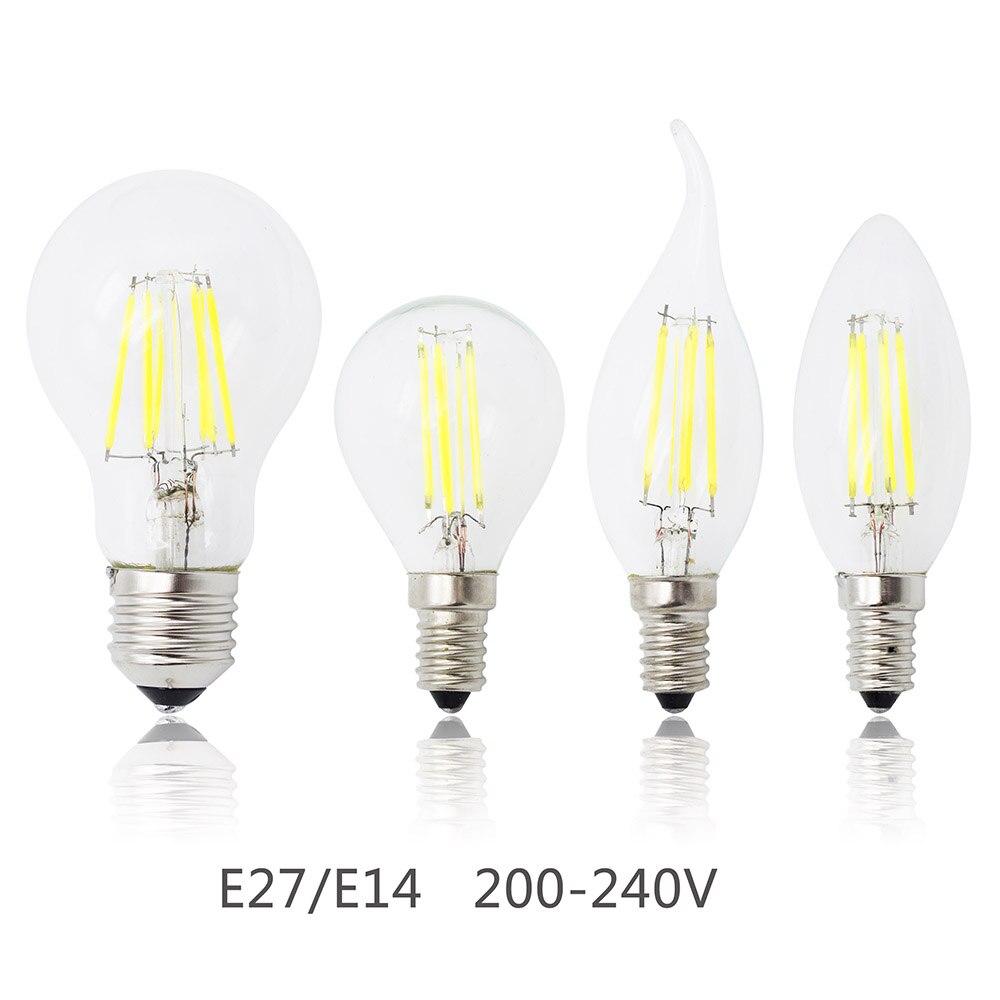 Светодиодная лампа Е27, E14, 4 Вт, 8 Вт, 12 Вт, 16 Вт, Диммируемый стеклянный лампочка эдисона, 220 В, замена галогеновых ламп, энергосберегающие лампы