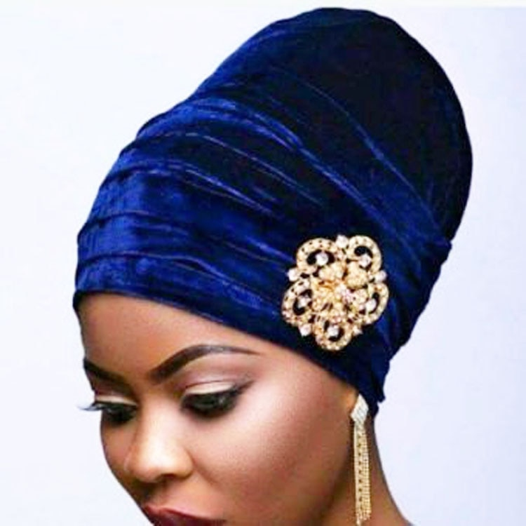 New fashion Pleated Velvet Turban With Metal Brooch Long Women Baggy Chemo Cap Sleeping Hat Headwrap
