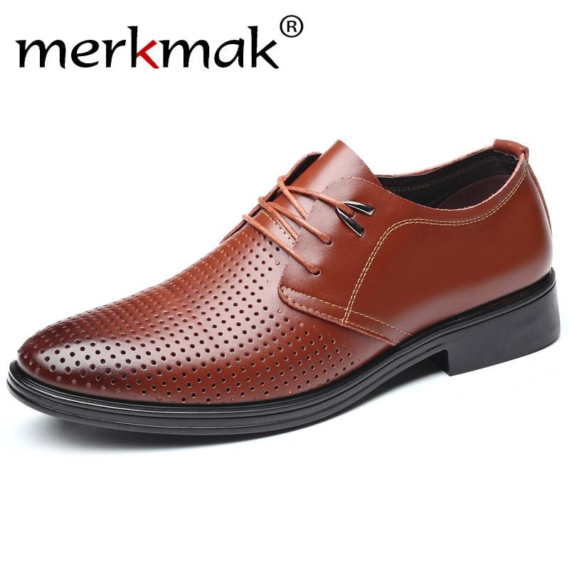 merkmak Genuine Lace Up Leather Men Shoes Fashion Low Heels Round Toe Office Men Dress Footwear Plus Size 37-47 Drop Ship