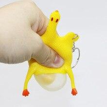 Nouveauté Gag jouets Antistress spongieux poulet pondant oeuf soulagement du Stress blague pratique plaisir squits Gadgets presser cadeaux