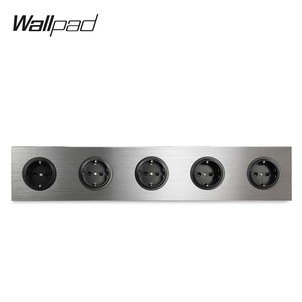 Wallpad-مقبس حائط مزود بـ 5 عصابات ، الاتحاد الأوروبي ، مقبس كهربائي ، ساتان فضي ، لوح من سبائك الألومنيوم المصقول ، 430 × 86 مم