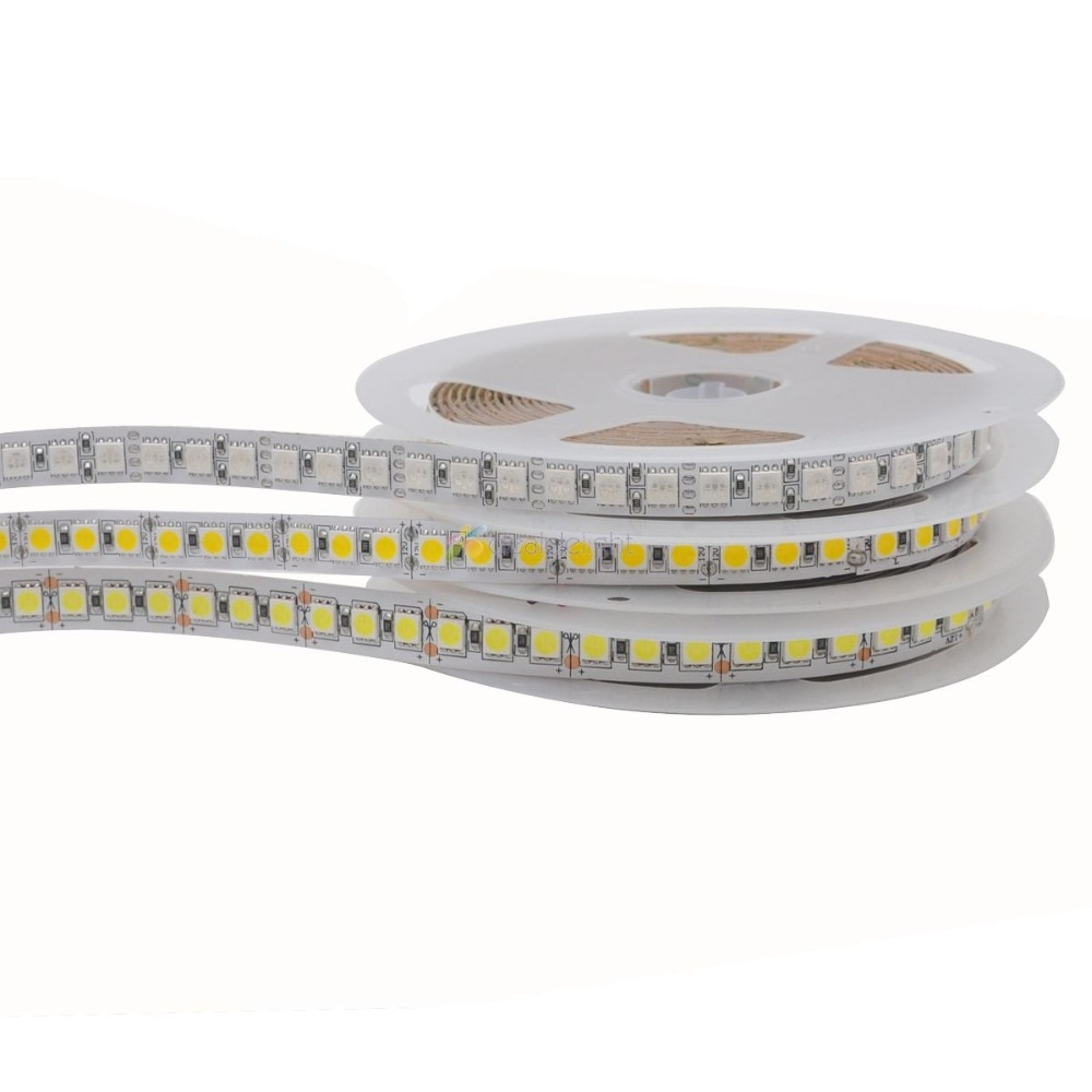 5m SMD 5050 600 tira de LED de una sola fila DC12V luz Flexible no impermeable 120 leds/m, 5 m/lote blanco cálido RGB 10mm PCB