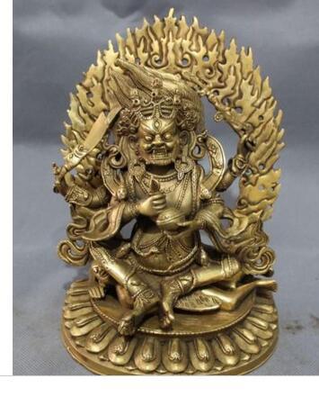 """Коллекционирование старой меди украшение бронза 9 """"Тщательно продуманный Тибетский буддизм латунь Ваджра 4 руки хакала Будда Джосс джамбала статуя"""
