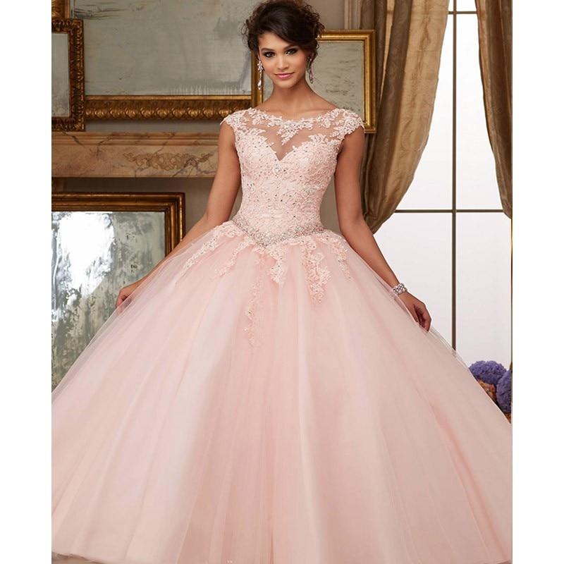 Robes De bal rose 2019 nouveau élégant hors De lépaule dentelle broderie robes De 15 Anos Quinceanera robes De soirée robe De soirée