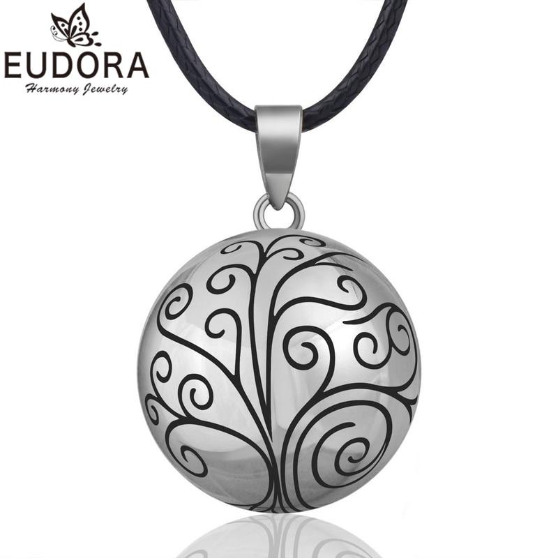 Eudora harmonia bola pingente colar árvore chime bola para as mulheres moda jóias presente mexicano gravidez bola 45chain chain corrente b316