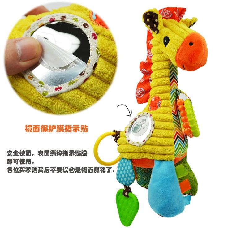 ¡Oferta! mordedor para bebé Sozzy de 27 cm, juguete de peluche con dientes de jirafa, Juguete musical con anillo de espejo, puzle educativo infantil