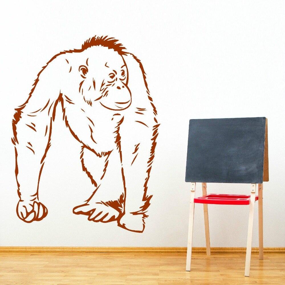 Animal Orangutang Camina Vinilo adhesivo Vinilo mural extraíble adhesivo artístico de pared Animal Orangután mono pegatina de pared M-177