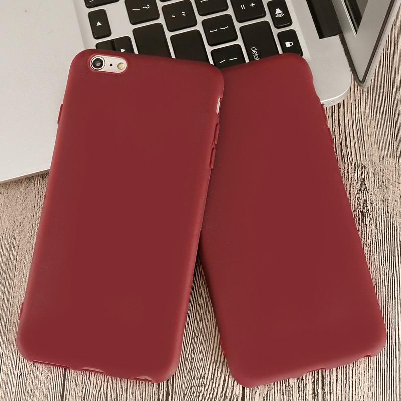 "Funda de teléfono mate de silicona suave de color rojo vino de lujo para iPhone X XR XS Max 5 5S SE 6 6S 7 8 Plus 11 Pro 2019 6,5"""