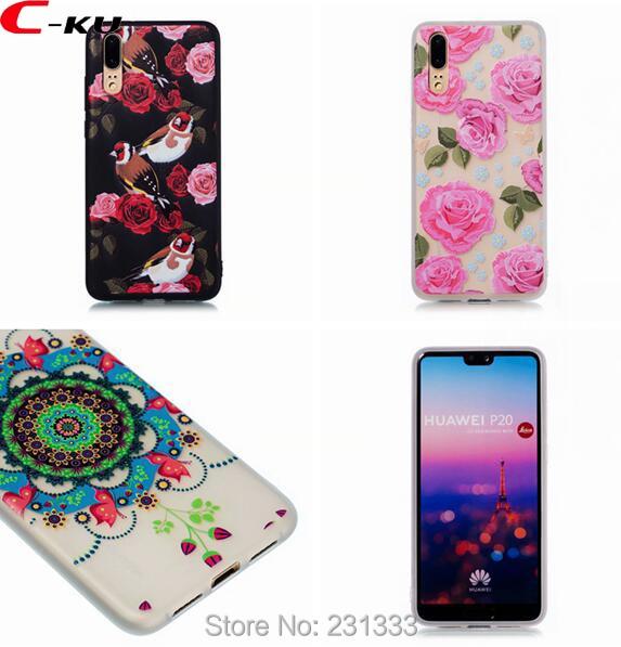 C-ku For Huawei P20 PRO P8 LITE 2017 P Smart Soft TPU Case Cartoon Flower Butterfly Bird Relief Oil Skin Shell Cover Luxury 1pcs