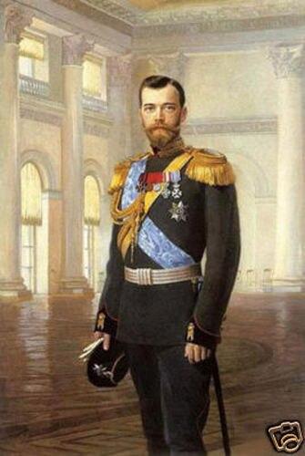 "Detalles sobre retrato de alta calidad pintura al óleo sobre lienzo zar Nicolás II 24 ""X36"""