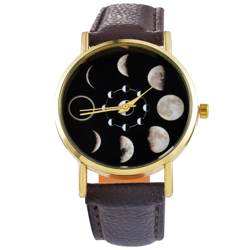 "Doreen Box PU Leather Quartz Wrist Watches Round Eclipse Lunar Eclipse Pattern Black Battery Included 24cm(9 4/8"") long, 1 Piece"