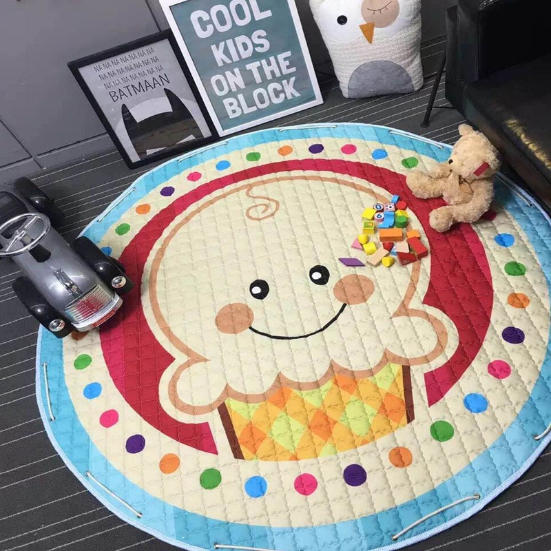 Colorful Children Playing Blanket Toy Storage Bag Kid's Toy Organizer Baby Kawaii Carpet