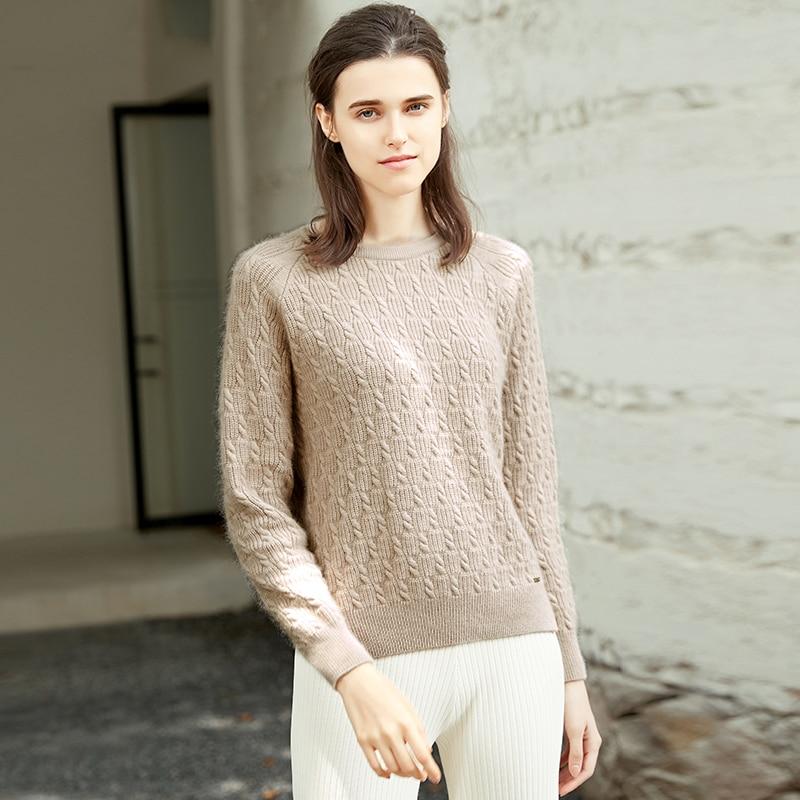 ZHILI 2018 New Autumn Winter O-Neck Khaki Color Cashmere Sweater