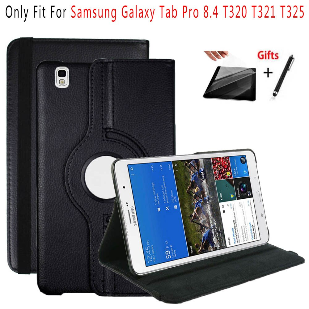 360 girando caso da aleta suporte capa de couro para samsung galaxy tab pro 8.4 t320 t325 tablet casos + película protetora caneta stylus