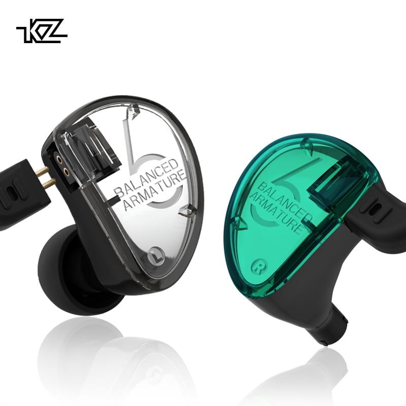 Nova Originais KZ AS06 3BA HIFI fone De Ouvido Estéreo intra-auriculares 2 Armadura Balanceada Motorista Monitor de Fone de ouvido Fones De Ouvido com 0.75 milímetros pin cabo