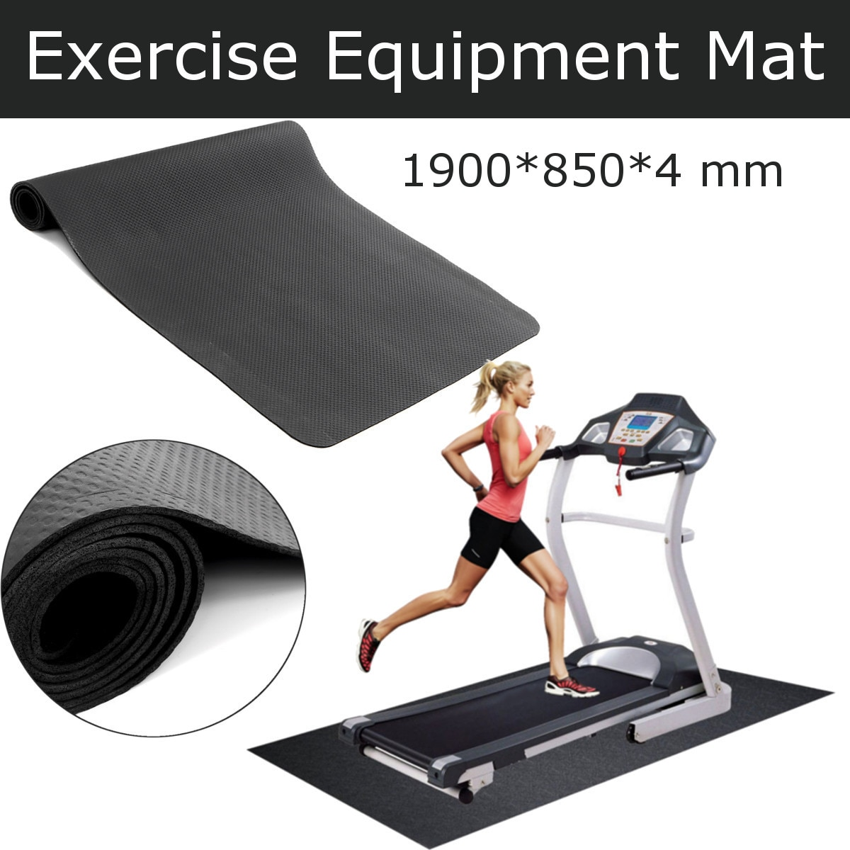190x85cm NBR Exercise Mat Gym Fitness Equipment For Treadmill Bike Protect Floor Mat Running Machine Shock Absorbing Pad Black