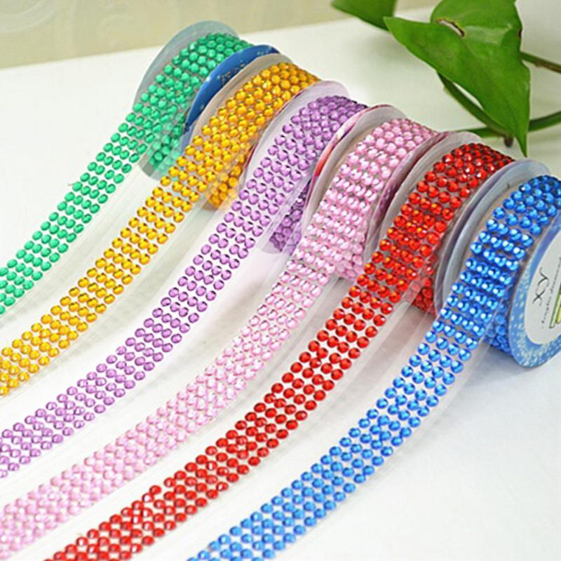 Cristal colorido rolo fita auto-adesivo strass adesivo fita artesanato glitter gema diy adesivos scrapbooking artes decoração #705