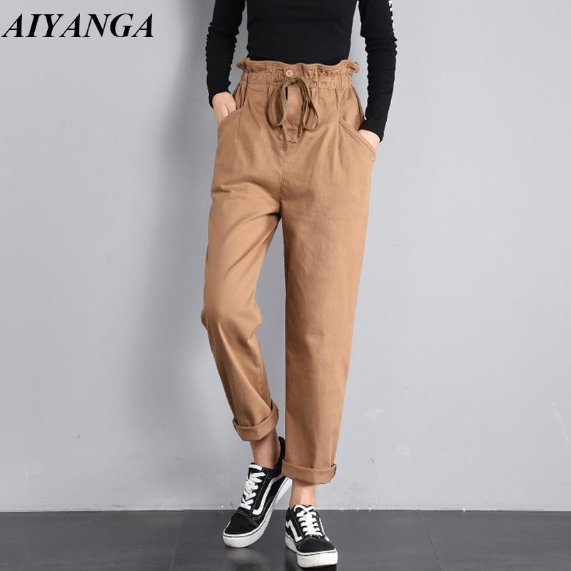 New 2019 Spring High waist pants women pants Loose streetwear black cargo pants women capris Casual trousers female