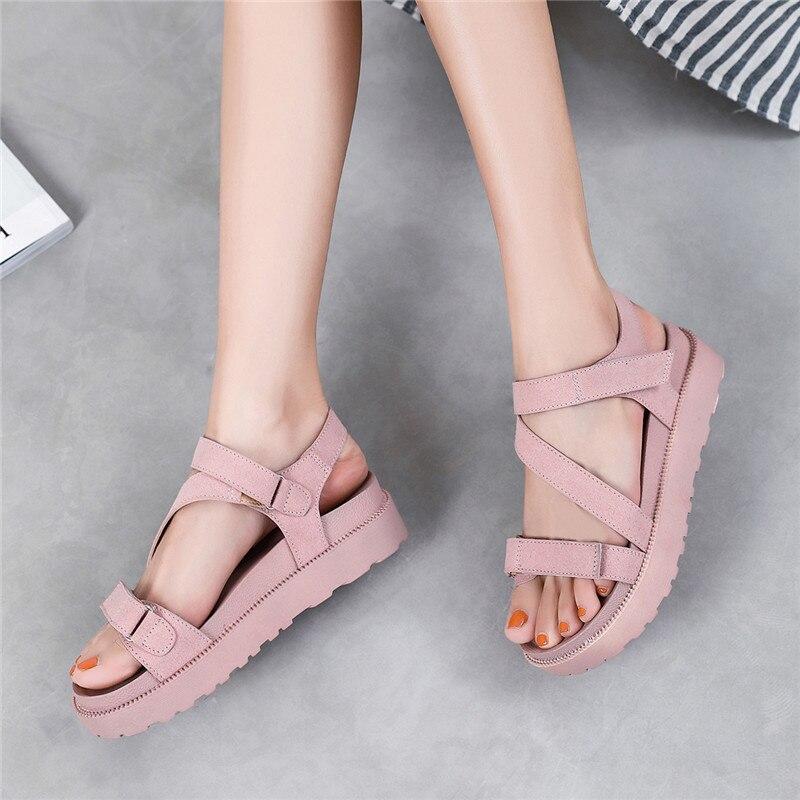 MALEMONKEY 922168 Sandalias planas para mujer, verano 2020, sandalias de mujer con punta abierta, suaves e informales de plataforma plana, zapatos de playa para niña, sandalias de mujer rosa