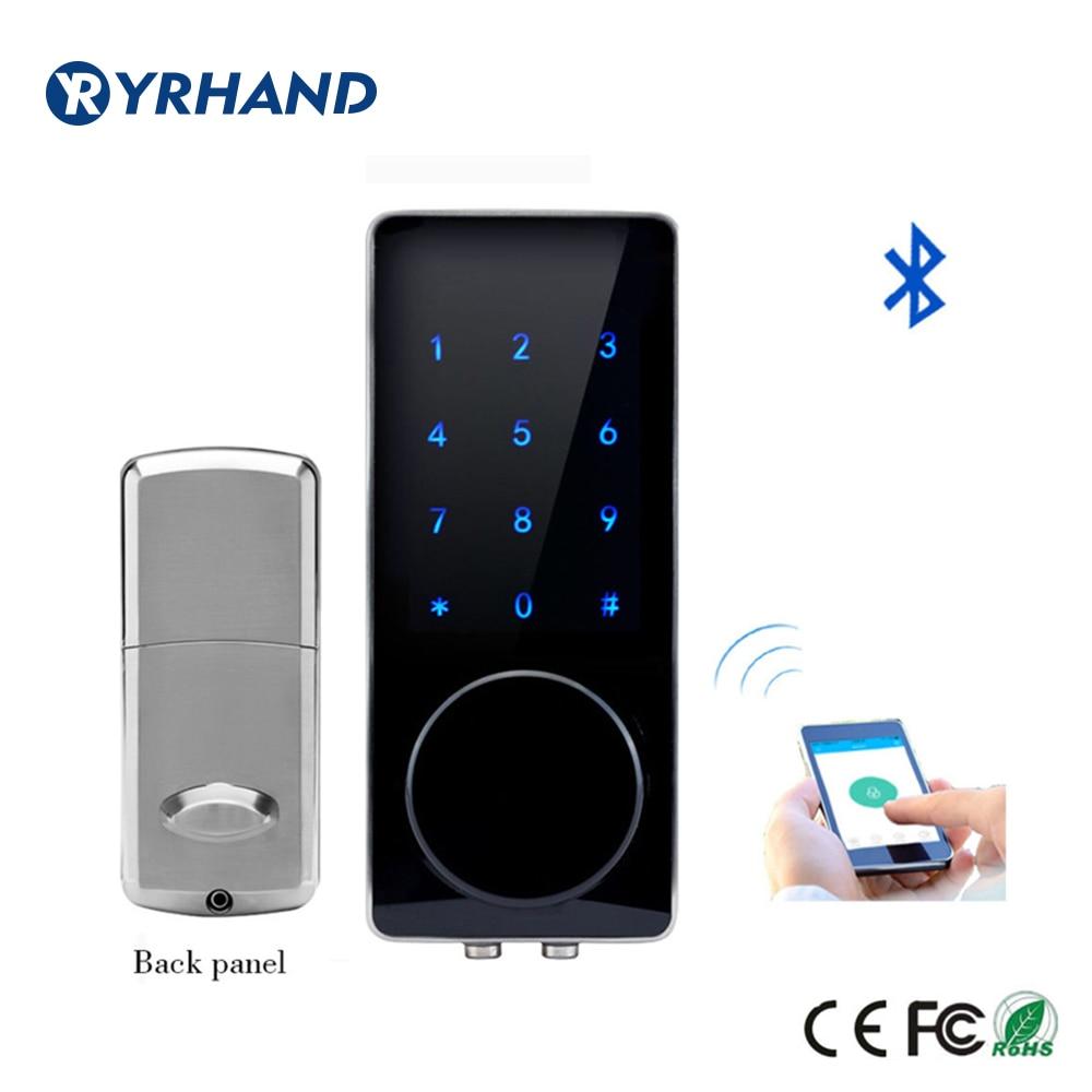 Get Silver Zinc Alloy Home Smart Bluetooth Electronic Touch Screen Code Password Lock Deadbolt Door Lock Unlock by App Code Key