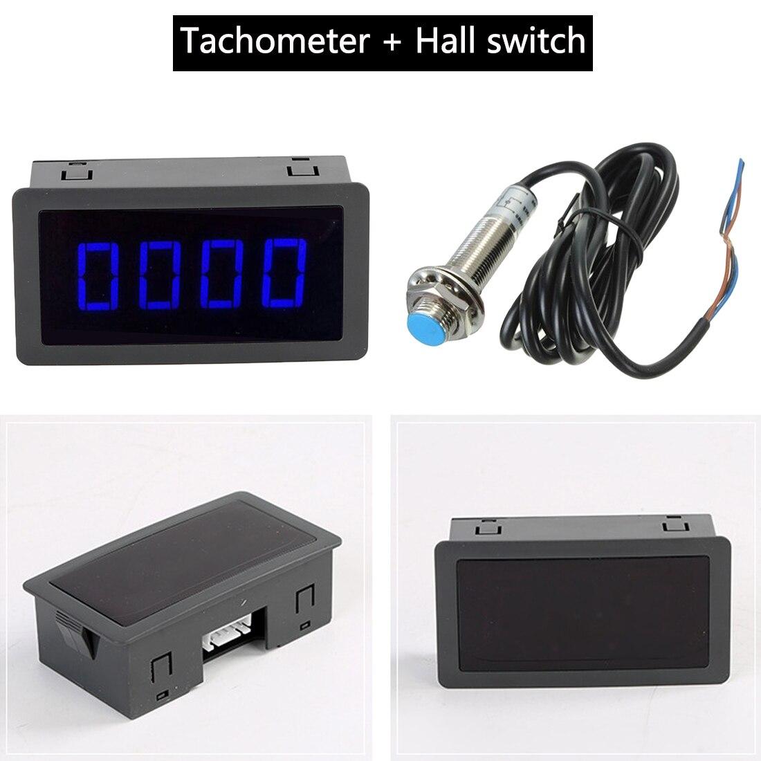 Herramientas de medición 4 Digital azul/verde/rojo tacómetro LED RPM medidor de velocidad y Hall interruptor con sensor de proximidad NPN DC 8-15V