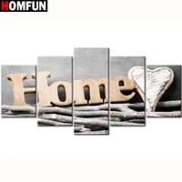 HOMFUN 5 pieces plein carre rond perceuse 5D bricolage diamant peinture  maison douce maison  multi-image combinaison broderie 5D decor