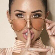 New Fashion Lens Mirror aviation Sunglasses Women Stylish Pilot Sun Glasses Lady Men Metal Frame Eye