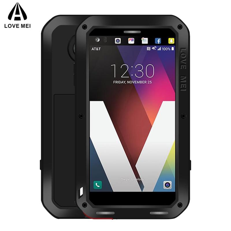 Funda de Metal Love Mei para LG V30 Plus V35 V40 V50 ThinQ, funda de teléfono a prueba de golpes para LG G7 ThinQ, carcasa de armadura anticaída de cuerpo completo