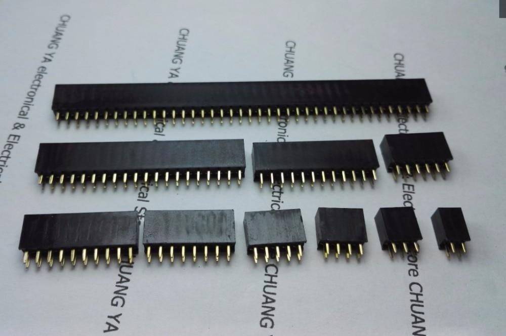 2,54mm 2*2 P 3 P 4 P 5, P 6 P 8 P 10 P 12 P 20 P 2x40PIN conectores de cabecera hembra doble fila aguja de cobre