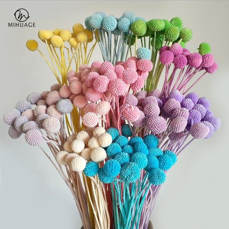 MiHuaGe, flor seca, bola dorada, decoración para sala de estar, dormitorio, flores naturales, regalo de vacaciones, suministros para fiestas