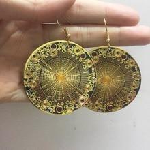 Pochette en émail doré moyen-orient, inde afghane boucles doreille en émail doré rond géométrique boucles doreilles Hippie Tribal egypte, Festival en émail doré, bijoux ethniques