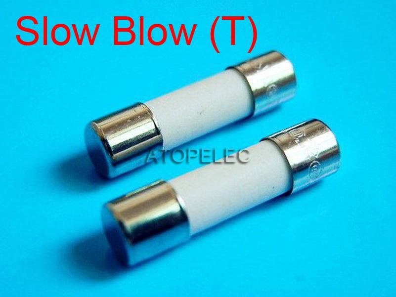 20 piezas 5mm x 20mm de fusible 5mm x 20mm lenta T 2A 3.15A 4A 5A 6.3A 8A 10A 250V