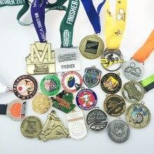 Médaille de récompense personnalisée en placage dor/argent/bronze   Avec ruban sublimé-6cm de