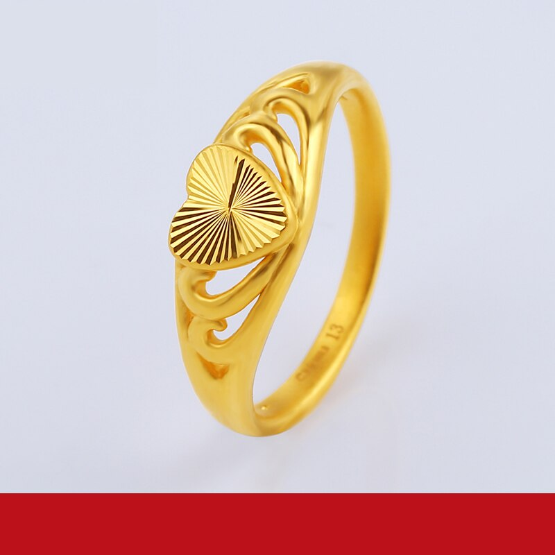 JLZB 24K Pure Gold Ring Real AU 999 Solid Gold Rings Elegant Shiny Heart Beautiful Upscale Trendy Jewelry Hot Sell New 2020