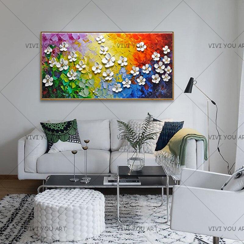 Paleta pintada a mano cuchillo flor pintura al óleo hecha a mano gruesa textura cuadro lienzo pared arte para sala de estar arte