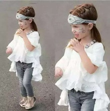 american children clothing half Lotus Sleeve baby girls dresses solid white mermaid dress for girls christening vestido fairy