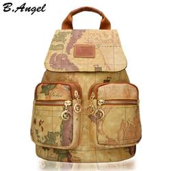 Hohe qualität welt karte schule rucksack große reisetasche leder rucksack hohe kapazität druck rucksack
