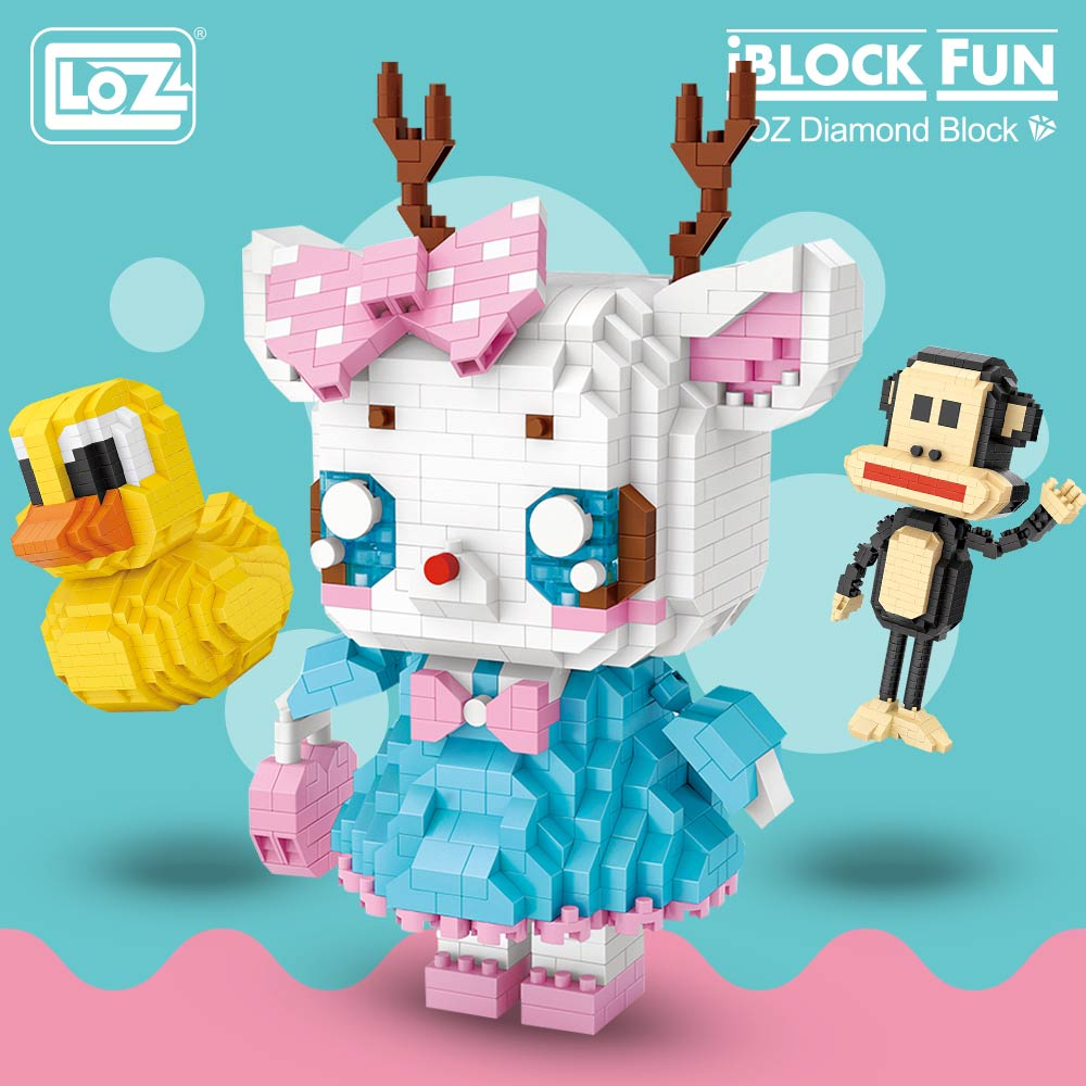 LOZ Diamond Blocks Deer Pig Cartoon Anime Animal Figures Educational Toys for Children Assembly Models Building Blocks Toys DIY
