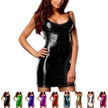 Femmes métallique sans manches taille basse profonde col en V moulante robe de soirée robe