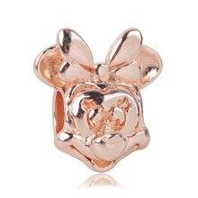 Ranqin Fashion New Fit Pandora Charm Bracelet Gift Original Girl Pendant Bead Necklace European Minnie Gold lovely Anime