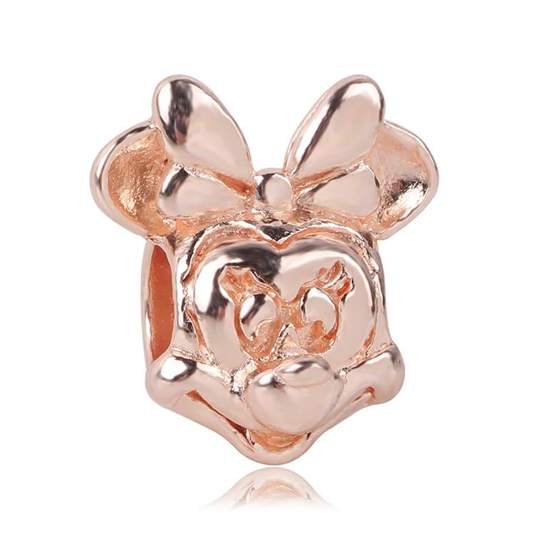 Ranqin moda nuevo ajuste Pandora encanto pulsera regalo Original chica colgante cuenta collar europeo Minnie oro encantador Anime